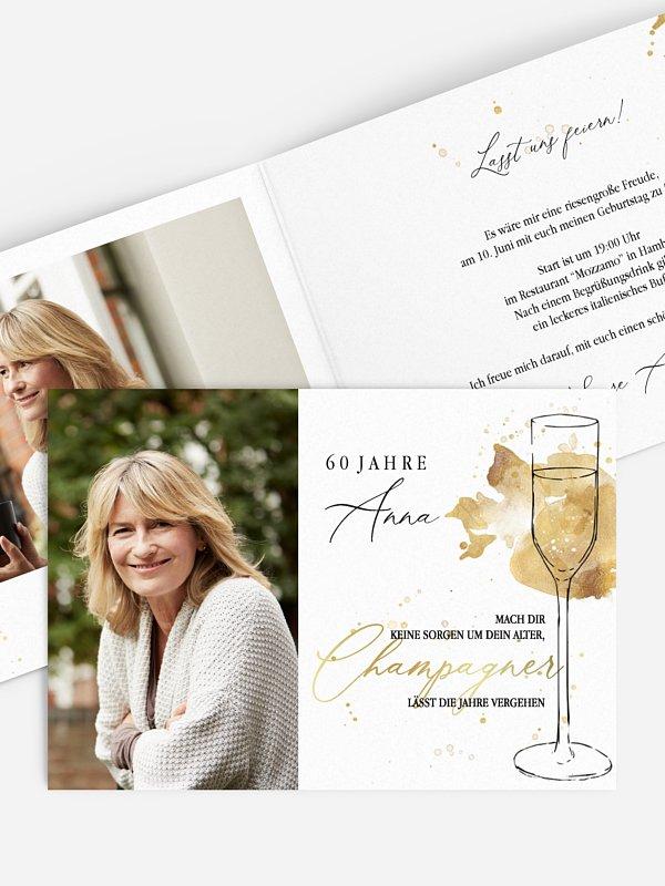 Einladung 60. Geburtstag Champagnerglas