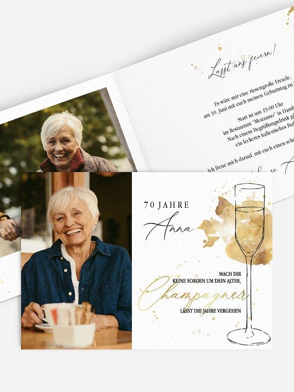 Einladung 70. Geburtstag Champagnerglas