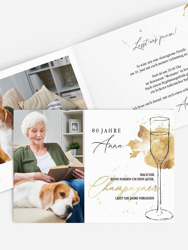 Einladung 80. Geburtstag Champagnerglas