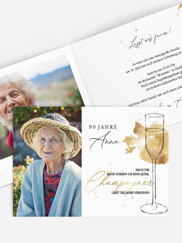 Einladung 90. Geburtstag Champagnerglas