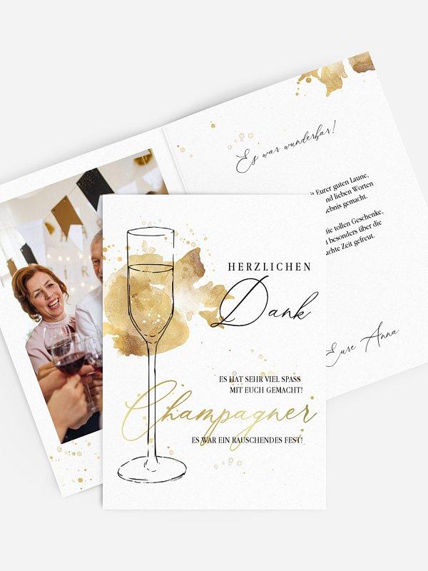 Dankeskarte Geburtstag Champagnerglas