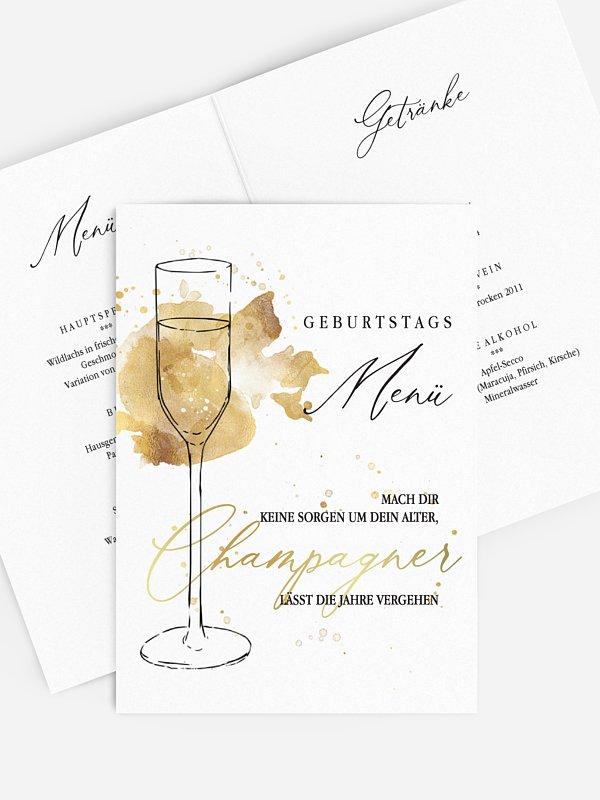 Menükarte Geburtstag Champagnerglas
