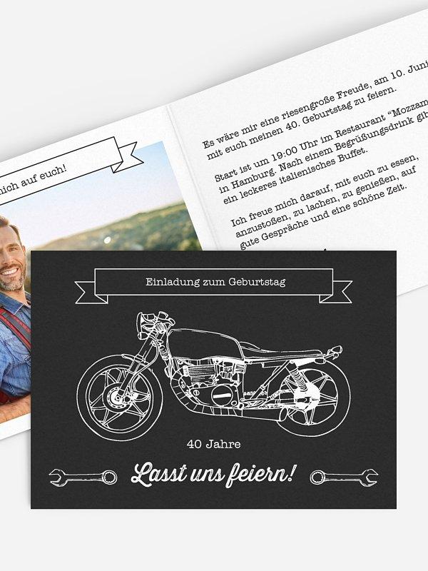Einladung 40. Geburtstag Motorrad