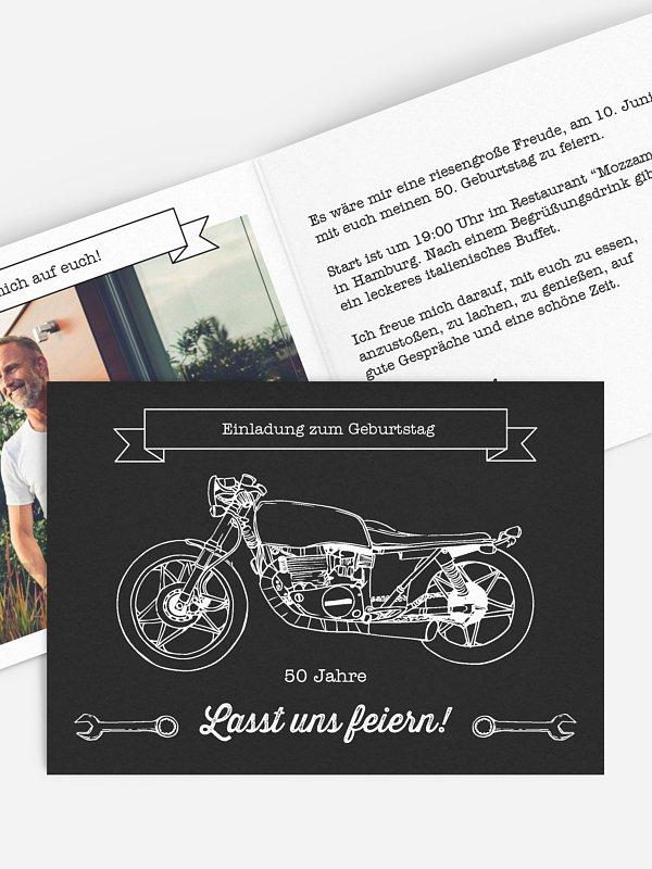 Einladung 50. Geburtstag Motorrad