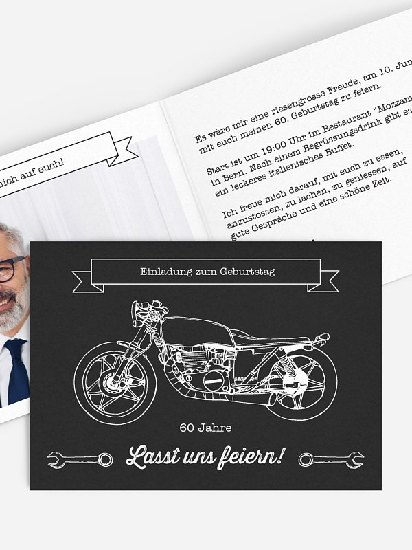 Einladung 60. Geburtstag Motorrad