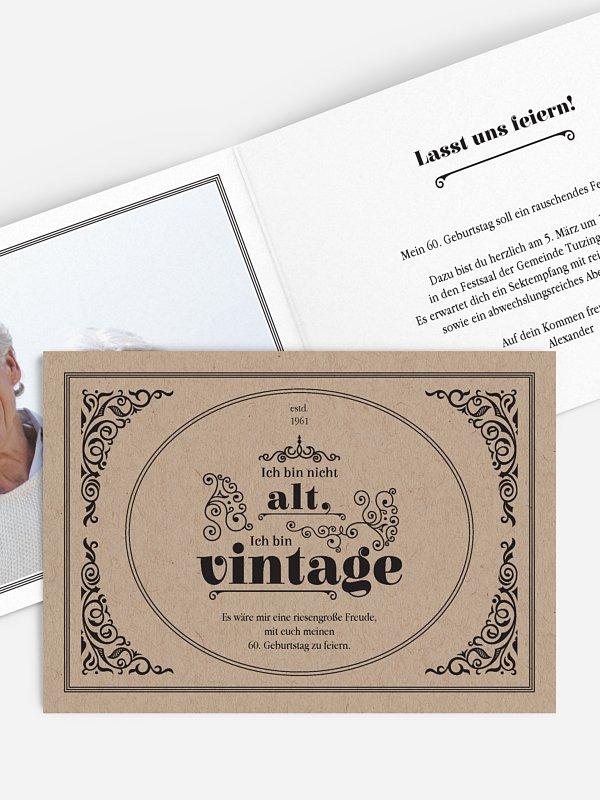Einladung 60. Geburtstag Vintage Jubiläum