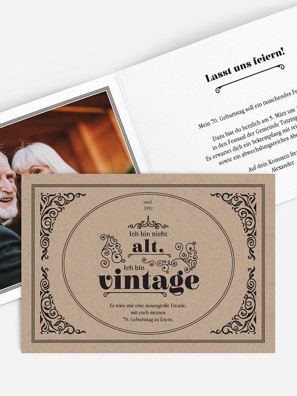 Einladung 70. Geburtstag Vintage Jubiläum