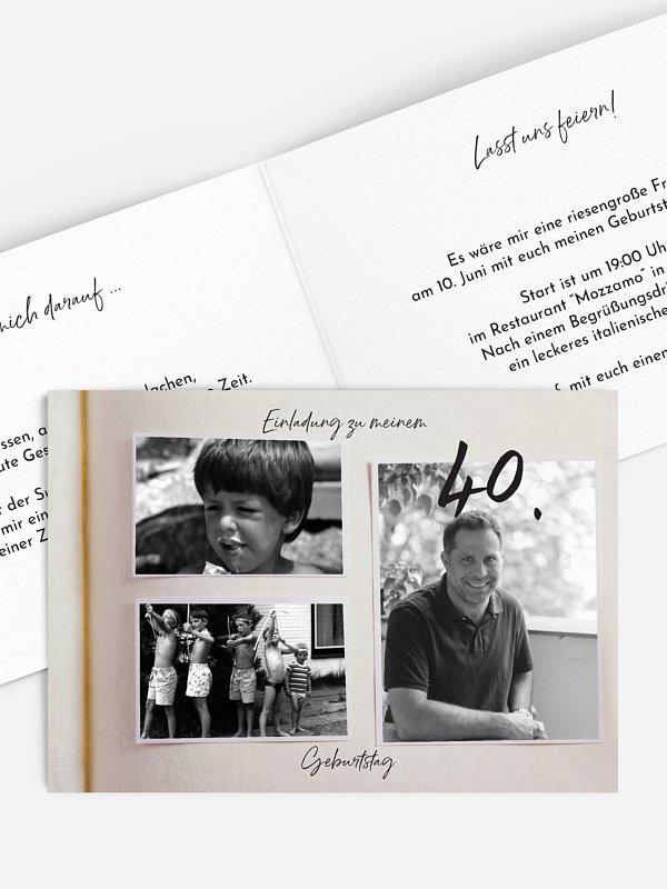 Einladung 40. Geburtstag Fotobuch