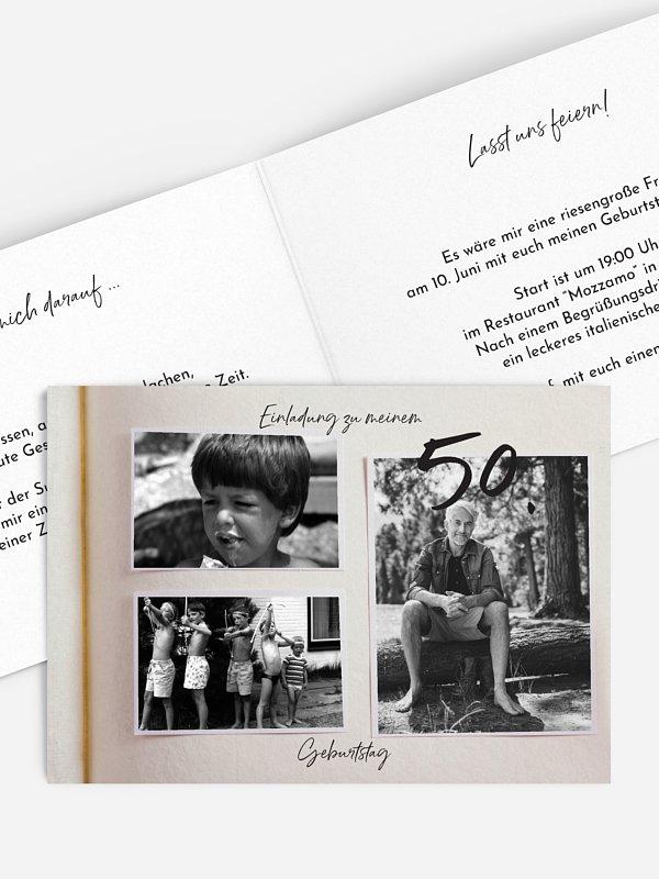 Einladung 50. Geburtstag Fotobuch