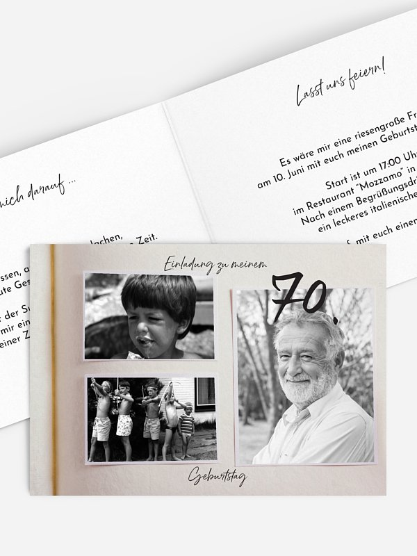 Einladung 70. Geburtstag Fotobuch