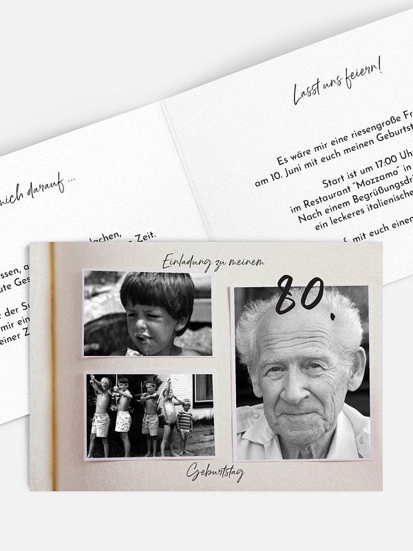 Einladung 80. Geburtstag Fotobuch