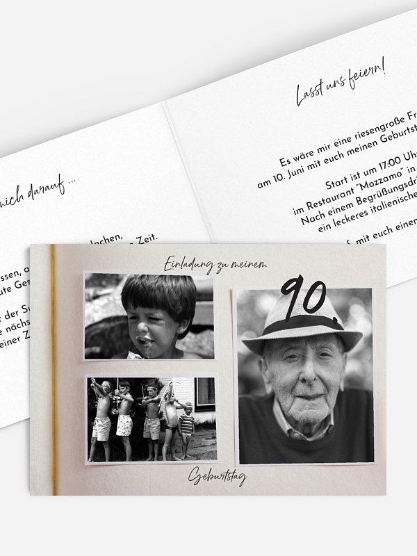Einladung 90. Geburtstag Fotobuch