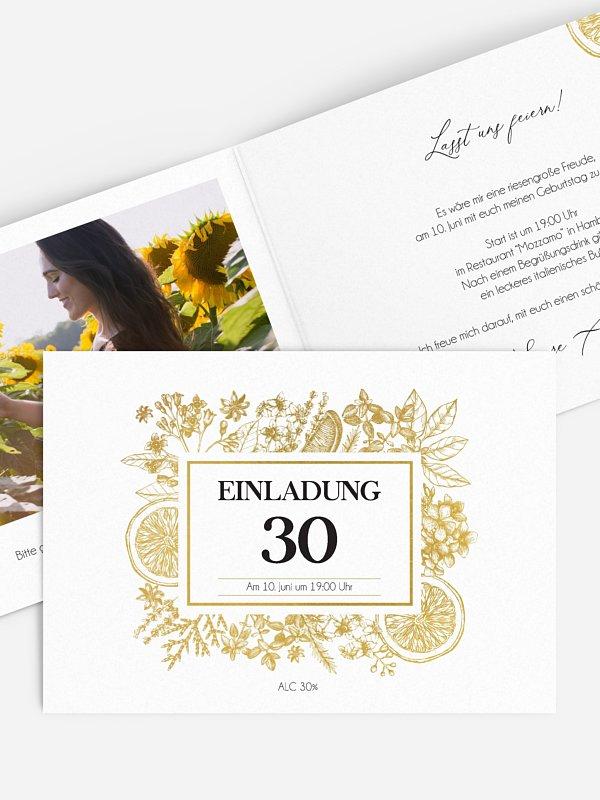 Einladung 30. Geburtstag Botanical Drink