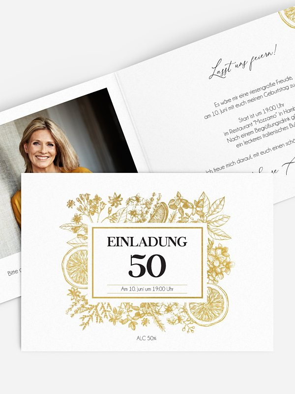 Einladung 50. Geburtstag Botanical Drink