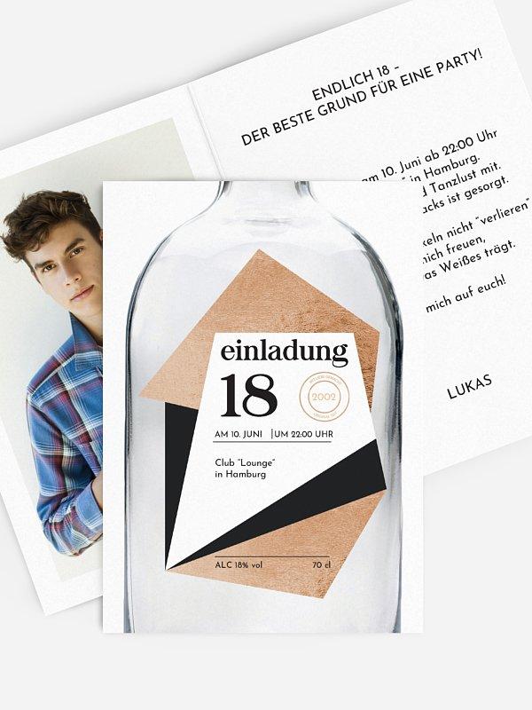 Einladung 18. Geburtstag Gin Bottle