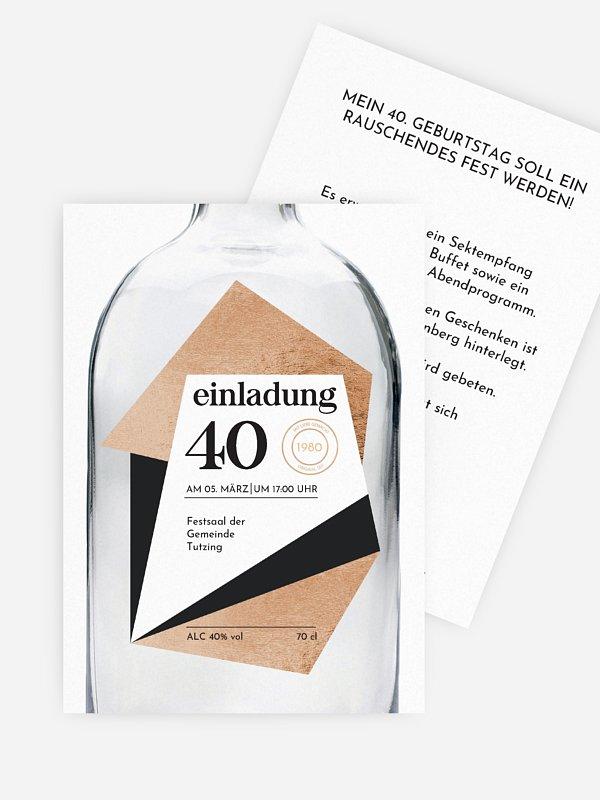 Einladung 40. Geburtstag Gin Bottle