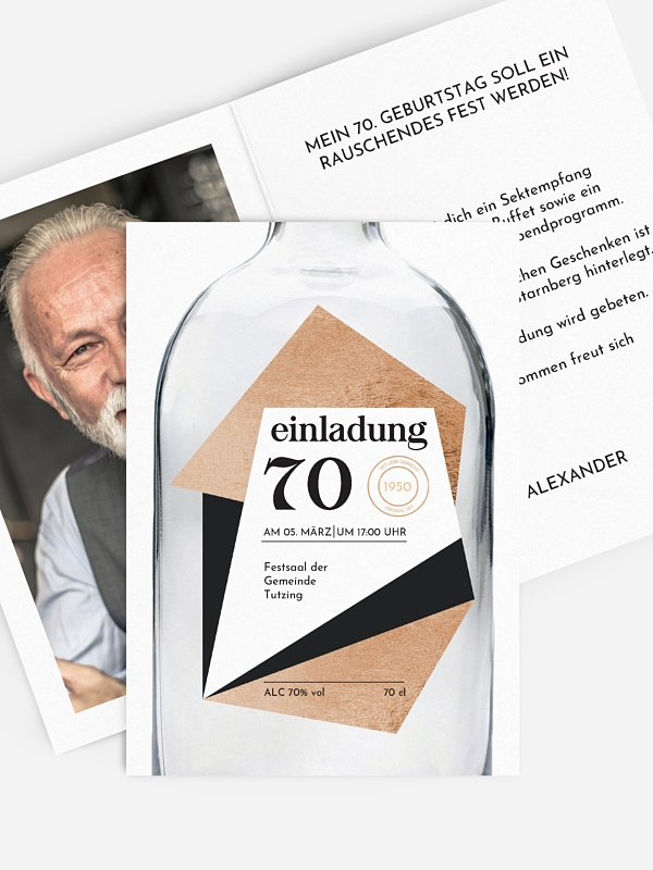 Einladung 70. Geburtstag Gin Bottle