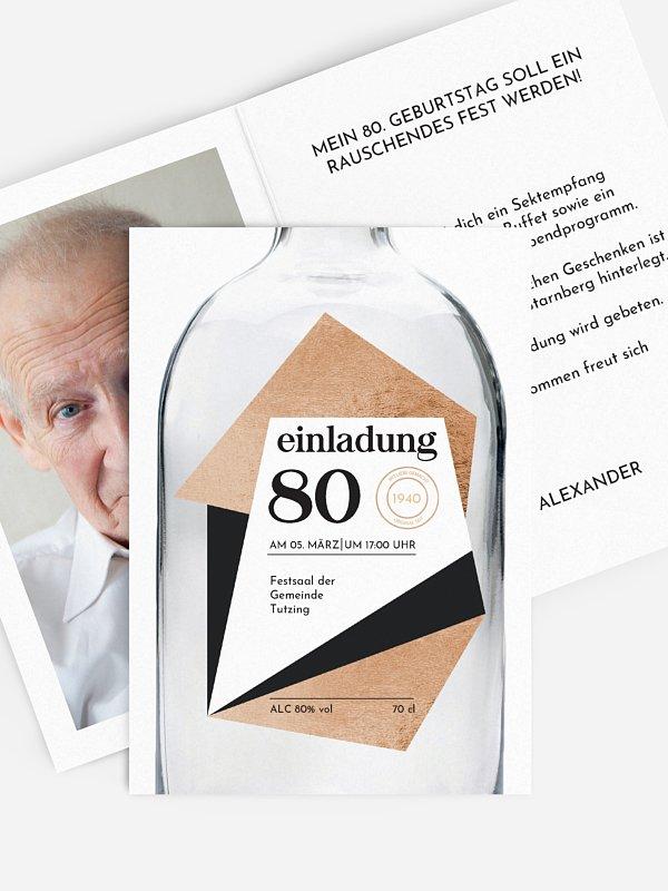 Einladung 80. Geburtstag Gin Bottle