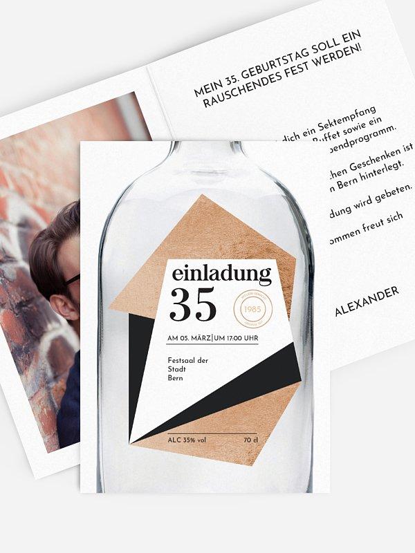 Geburtstagseinladung Gin Bottle