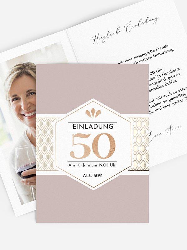 Einladung 50. Geburtstag Label