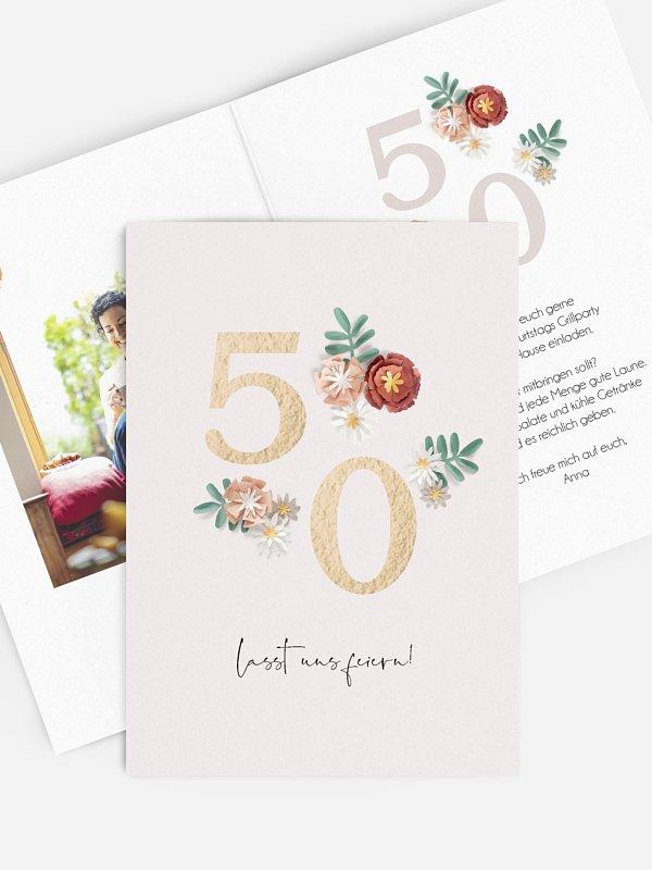Einladung 50. Geburtstag Geburtstagsblumen