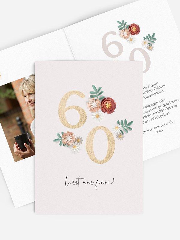 Einladung 60. Geburtstag Geburtstagsblumen