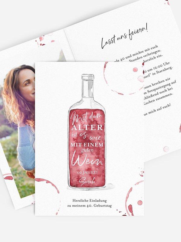 Einladung 40. Geburtstag Weinflasche