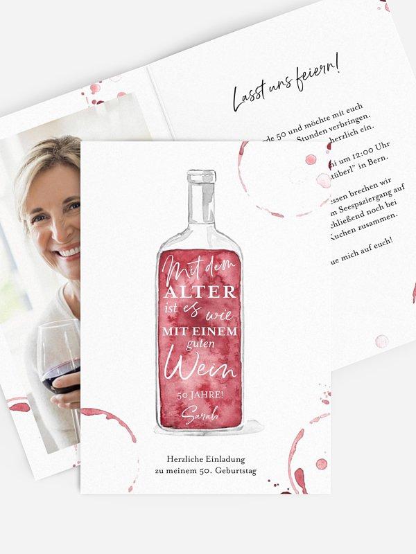 Einladung 50. Geburtstag Weinflasche