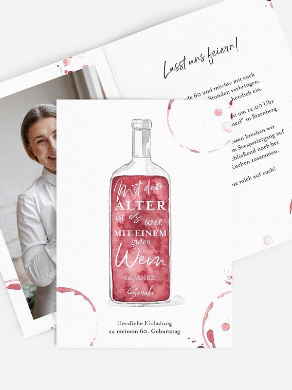 Einladung 60. Geburtstag Weinflasche