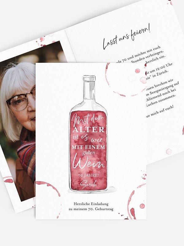 Einladung 70. Geburtstag Weinflasche