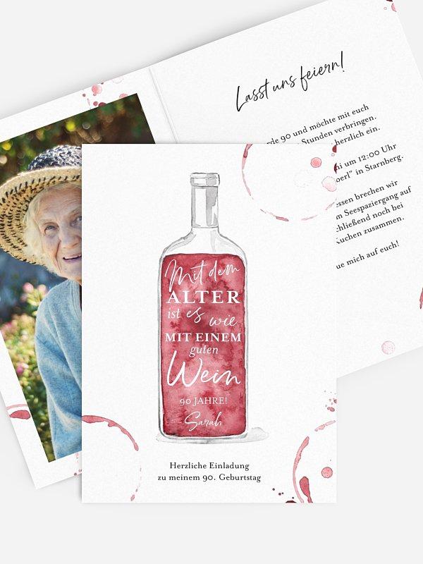 Einladung 90. Geburtstag Weinflasche