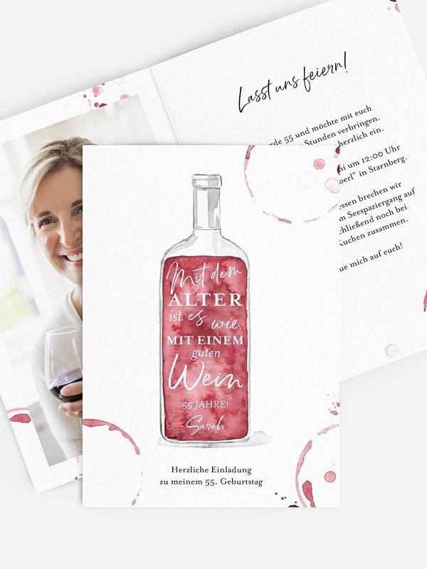 Geburtstagseinladung Weinflasche