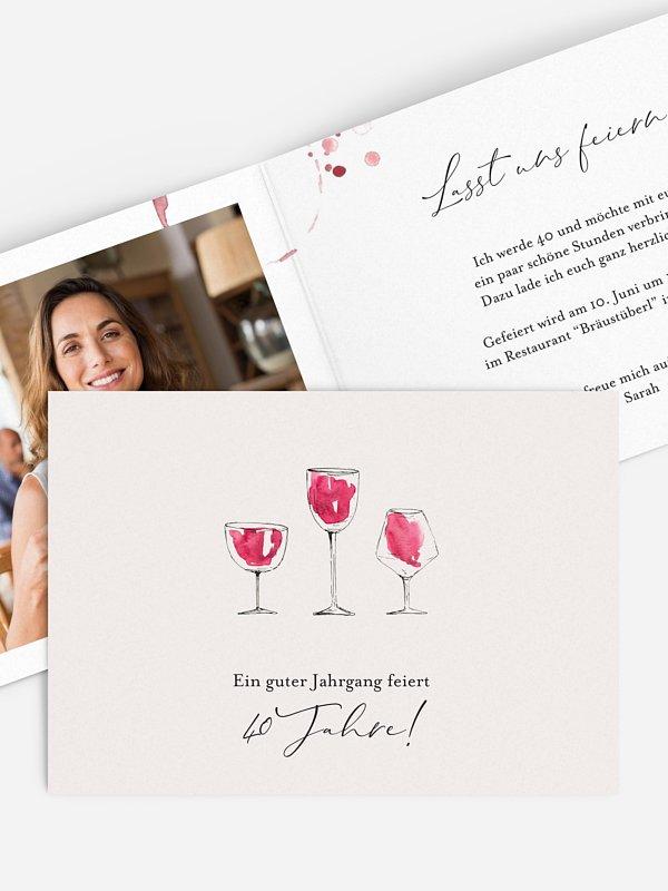 Einladung 40. Geburtstag Wein