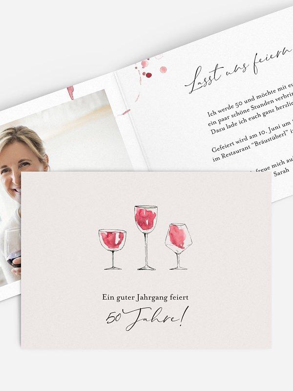 Einladung 50. Geburtstag Wein