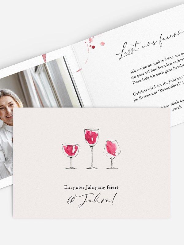 Einladung 60. Geburtstag Wein