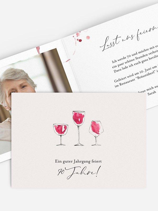 Einladung 70. Geburtstag Wein