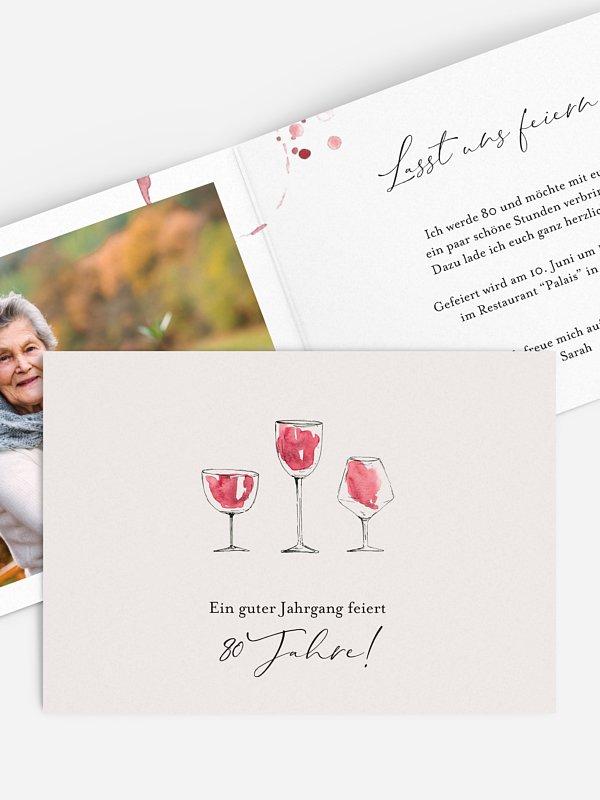 Einladung 80. Geburtstag Wein
