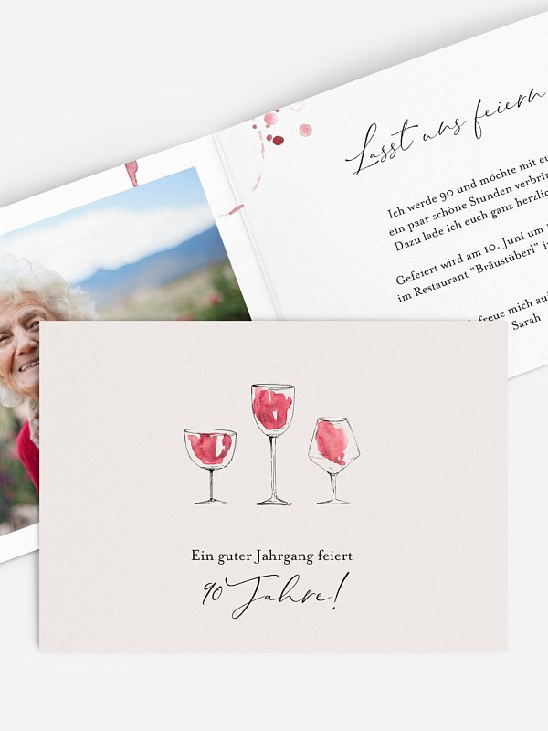 Einladung 90. Geburtstag Wein
