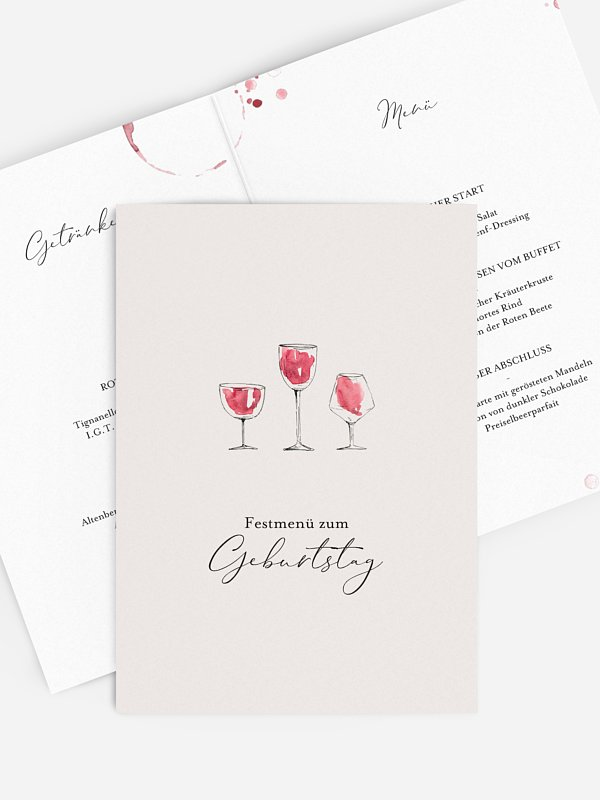 Menükarte Geburtstag Wein