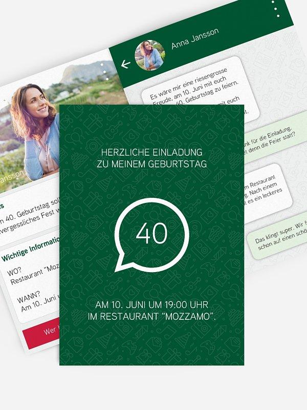 Einladung 40. Geburtstag Messenger