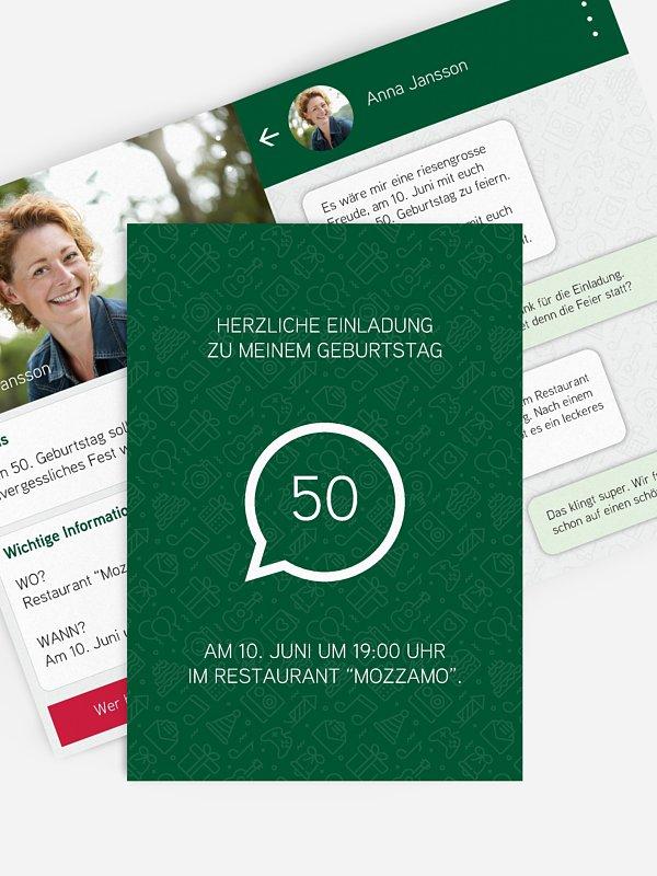Einladung 50. Geburtstag Messenger