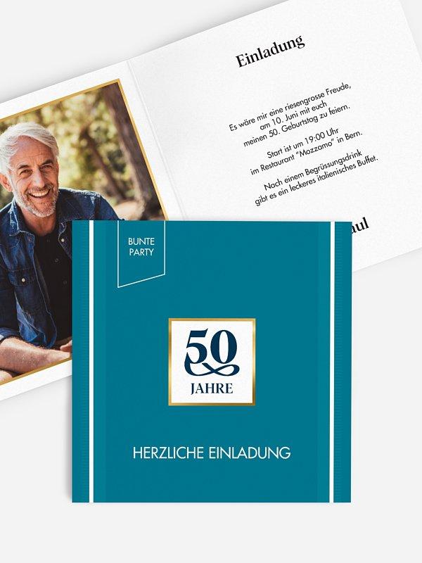 Einladung 50. Geburtstag Bunte Party