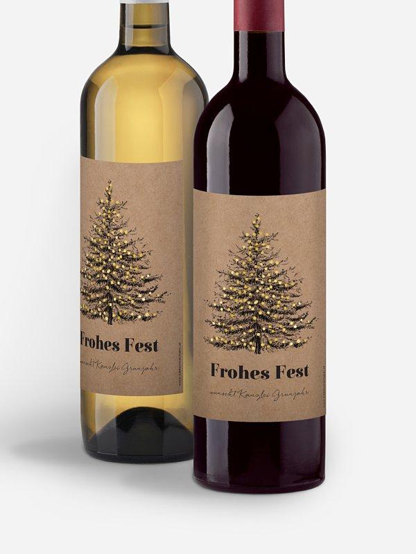Flaschenetikett geschäftlich Pinetree