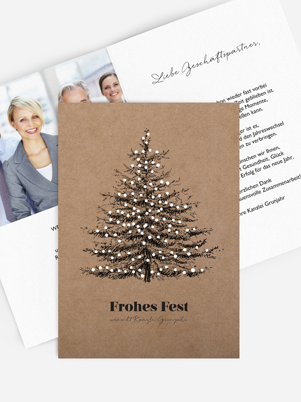 Geschäftliche Weihnachtskarte Pinetree