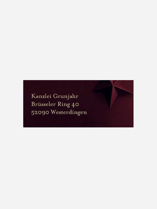 Absenderaufkleber geschäftl. Weihnachten Papierstern