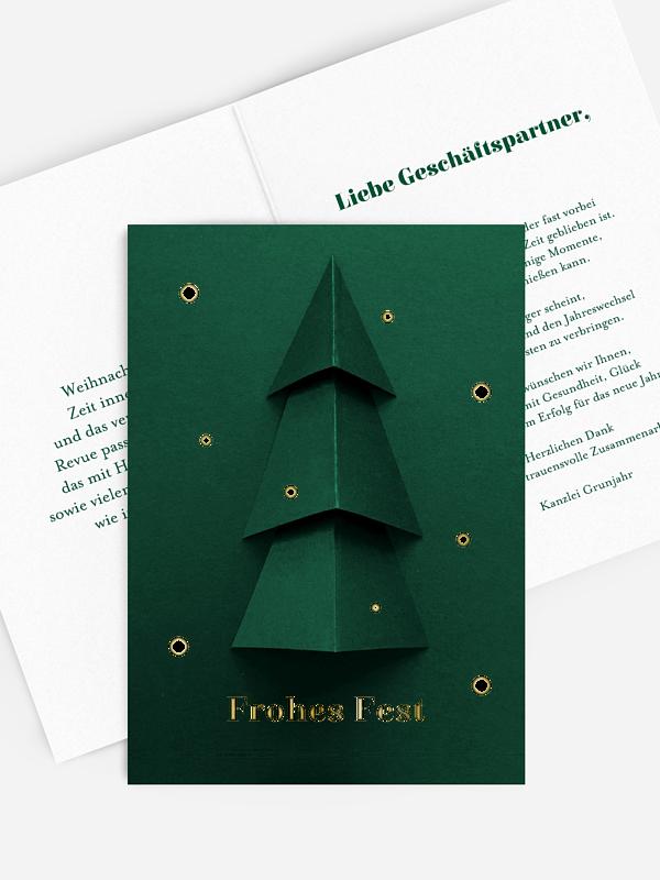 Geschäftliche Weihnachtskarte Papiertanne