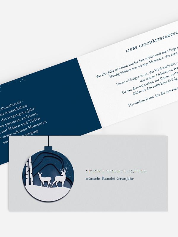 Geschäftliche Weihnachtskarte Weihnachtskugel Hirsch