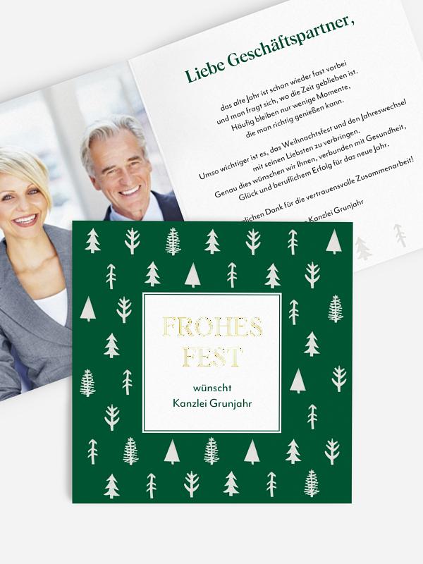 Geschäftliche Weihnachtskarte Tannenstempel