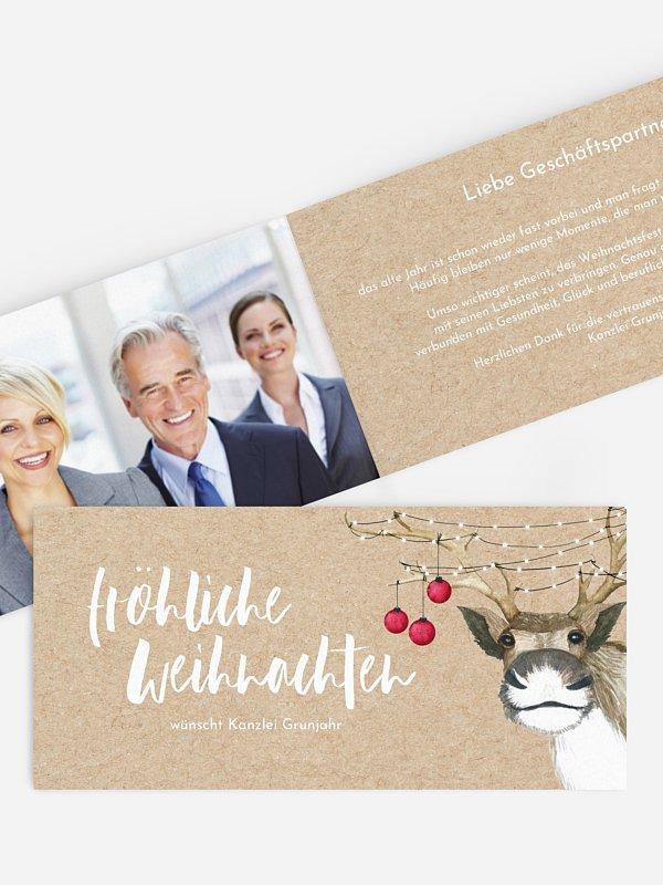 Geschäftliche Weihnachtskarte Rentier