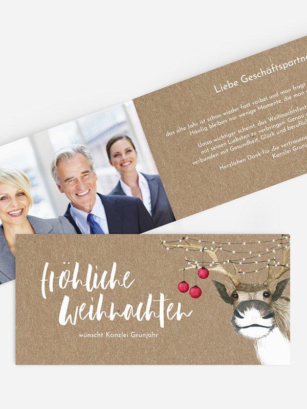 Geschäftliche Weihnachtskarte Rentier Kraftpapier
